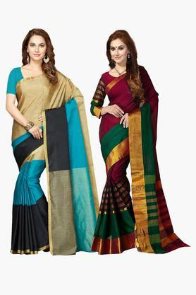 ISHIN Womens Bhagalpuri Art Silk Printed Saree - Set Of 2 - 203260394
