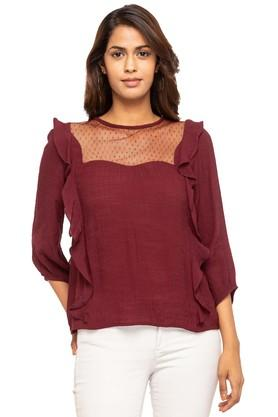 Womens Round Neck Solid Lace Yoke Top