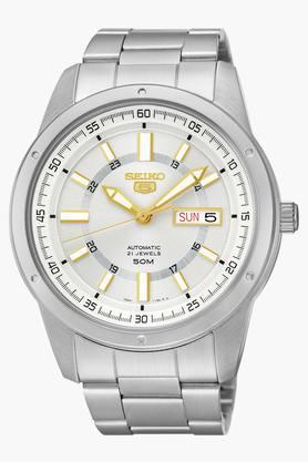 SEIKOMens 5 Analog White Dial Watch - SNKN11K1