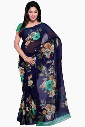 DEMARCA Womens Faux Georgette Floral Print Saree