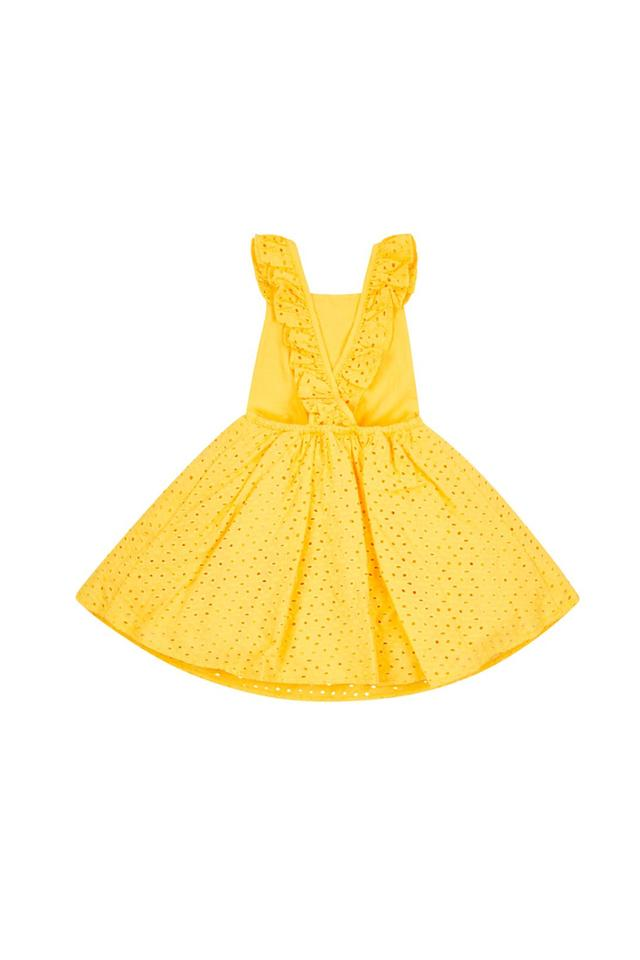 Girls Square Neck Perforated Dress