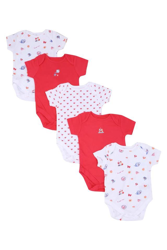 Girls Envelope Neck Printed and Solid Bodysuit Pack of 5