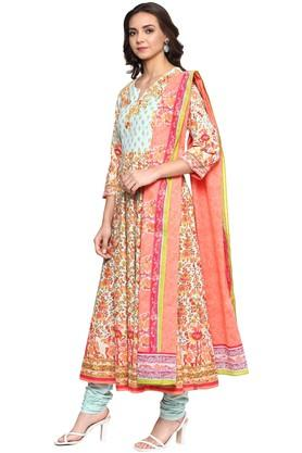 Womens Notched Collar Floral Print Churidar Suit