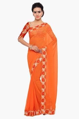 DEMARCAWomen Chiffon Embellished Saree