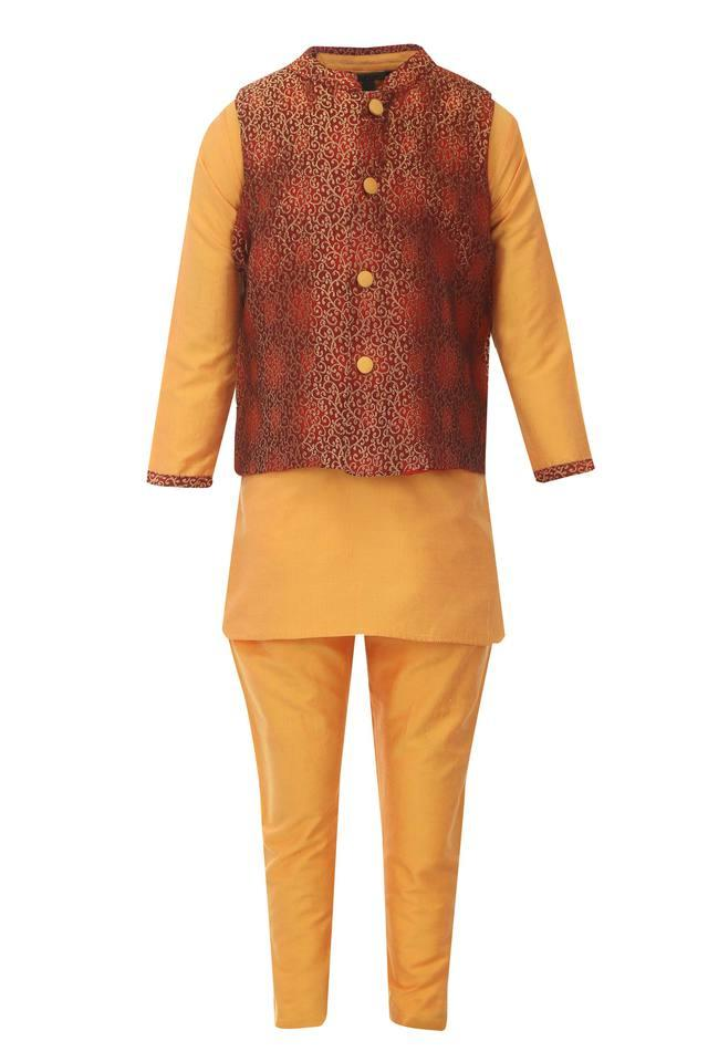 Boys Mandarin Collar Printed Kurta, Pyjama and Jacket Set