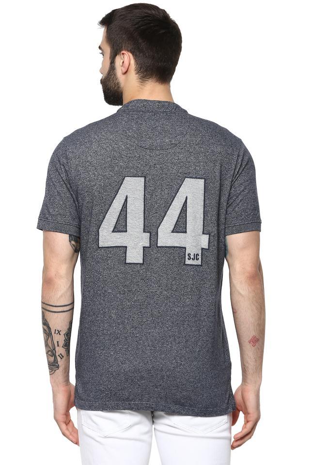 Mens Mandarin Collar Slub T-Shirt