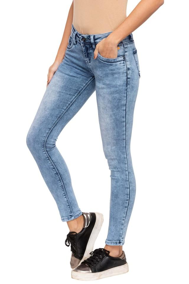 Womens 5 Pocket Stone Wash Jeans