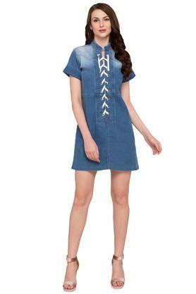 Womens Mandarin Neck Washed Short Dress