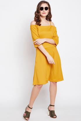 Womens Off Shoulder Solid A-Line Dress