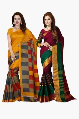 ISHIN Womens Bhagalpuri Art Silk Printed Saree - Set Of 2 - 203260391