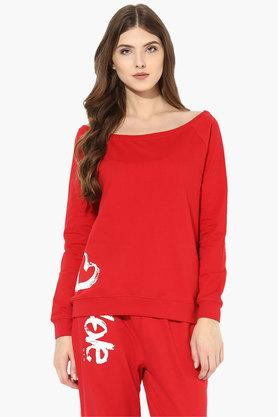 LOVE GENRATION Womens Boat Neck Solid Sweatshirt