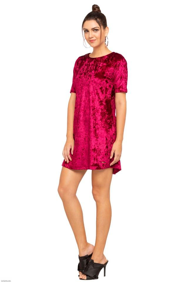 Womens Round Neck Slub Short Dress
