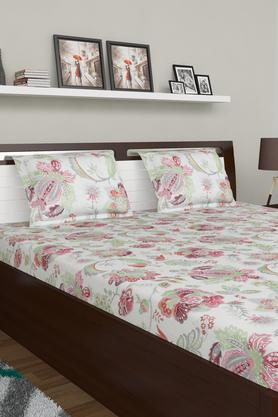 SPACES Floral Printed Double Bed Sheet With Pillow Cover And Cushion Cover