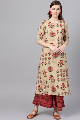 Womens Key Hole Neck Floral Print Kurta and Palazzo Set