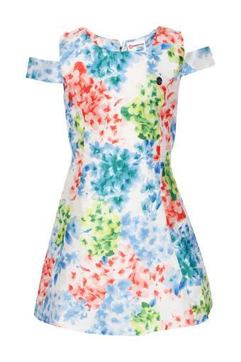 Girls Round Neck Printed A-line Dress