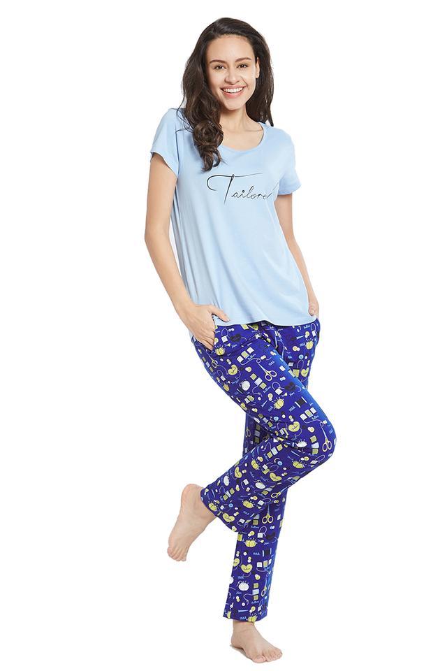 Womens Round Neck solid T-Shirt and Pyjamas Set