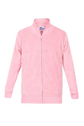 Girls Zip Through Neck Embellished Sweatshirt