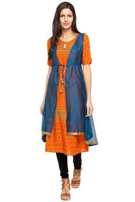 IMARA Womens Key Hole Neck Printed Kurta