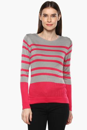 RS BY ROCKY STAR Womens Round Neck Striped Sweatshirt
