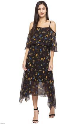 Womens Floral Print Asymmetrical Dress