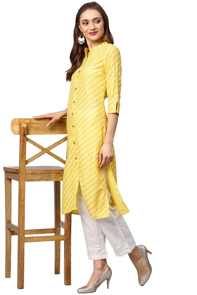 Womens Mandarin Collar Embroidered Shirt Style Kurta