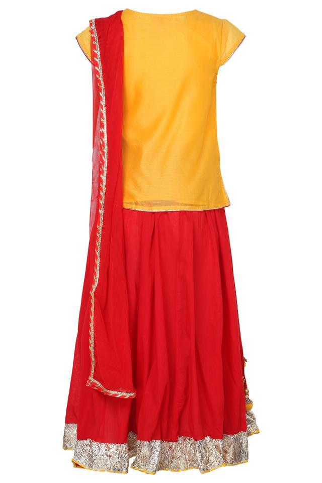 Girls Round Neck Embroidered Ghaghra Choli Dupatta Set