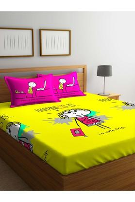 PORTICO Printed Double Bed Sheet With Pillow Cover - 203990073_9900