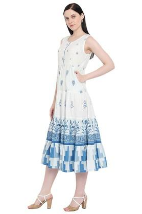 Womens Round Neck Printed Anarkali Kurta
