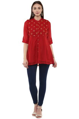 Womens Mandarin Neck Embroidered Top