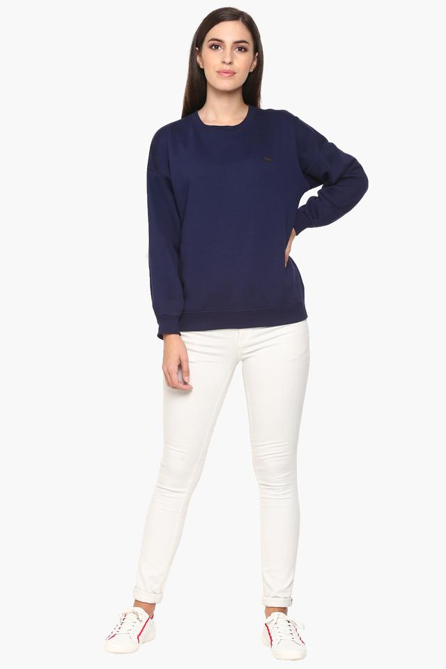 Womens Round Neck Solid Sweatshirt