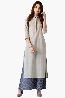 LIBASWomens Cotton Stripes High Low Kurta