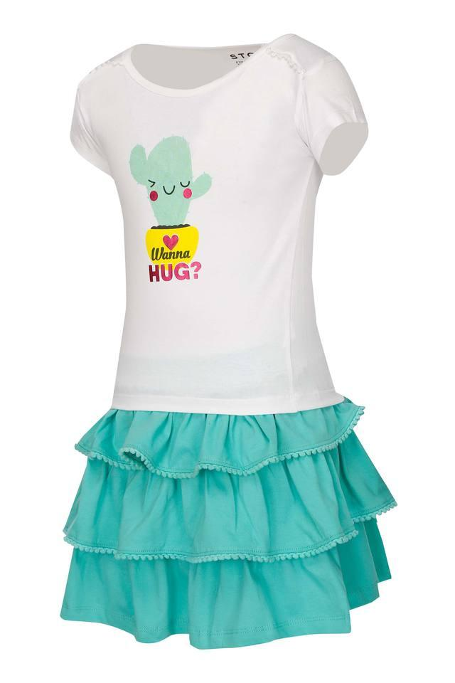 Girls Round Neck Solid Skirt and Top Set