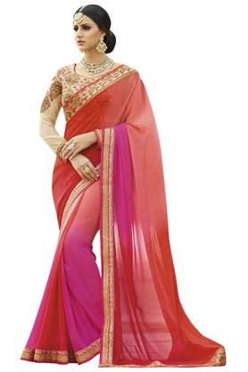Womens Faux Georgette Partywear Saree