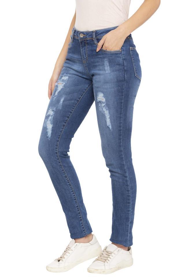 Womens Boyfriend Fit Distressed Jeans