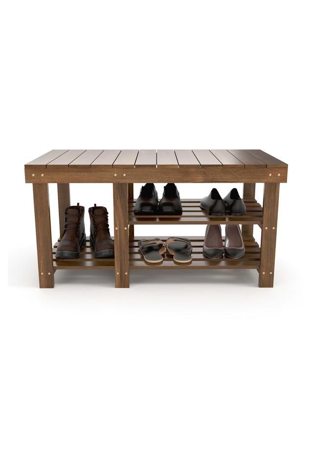 Brown Wooden Shoe Rack
