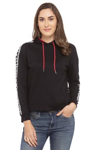 Womens Hooded Solid Shoulder Taped Sweatshirt