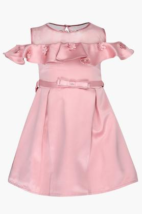Girls Round Neck Solid Ruffled Applique Pleated Dress