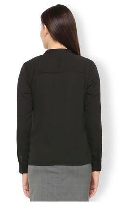 Womens Mandarin Neck Solid Pintuck Shirt