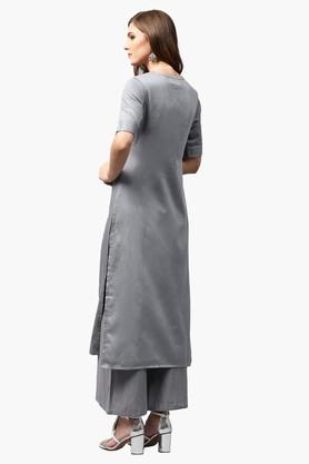 Womens Key Hole Neck Solid Straight Fit Kurta