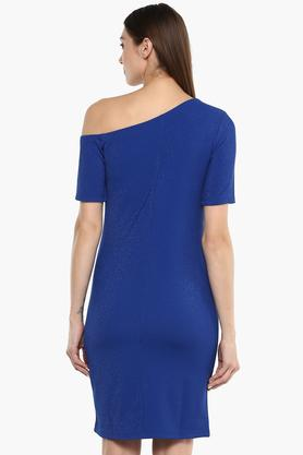 Womens One Shoulder Solid Bodycon Dress