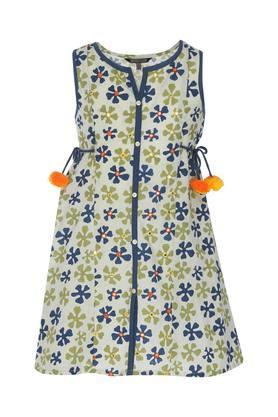 Girls Round Neck Floral Print knee Length Dress