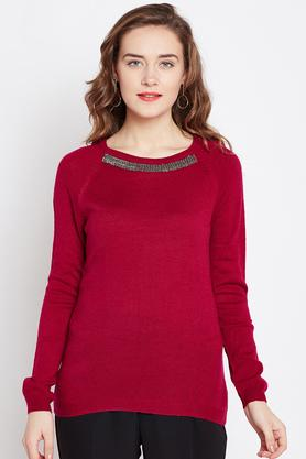 MARIE CLAIRE Womens Round Neck Solid Sweater - 203948116