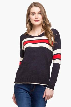 FRATINI WOMAN Womens Round Neck Stripe Sweater
