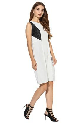 Womens Round Neck Stripe Knee Length Dress