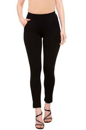 Womens 2 Pocket Solid Jeggings