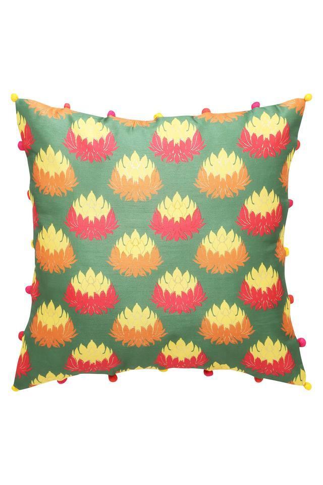 Square Printed Pom Pom Cushion Cover