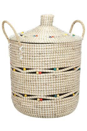BACK TO EARTHRound Seagrass Basket With Handle - 35cm