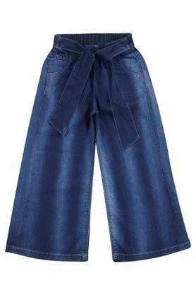 Girls 3 Pocket Whiskered Effect Jeans