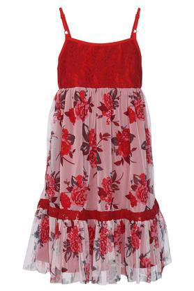 Girls Spaghetti Neck Floral Print Drop Waist Dress