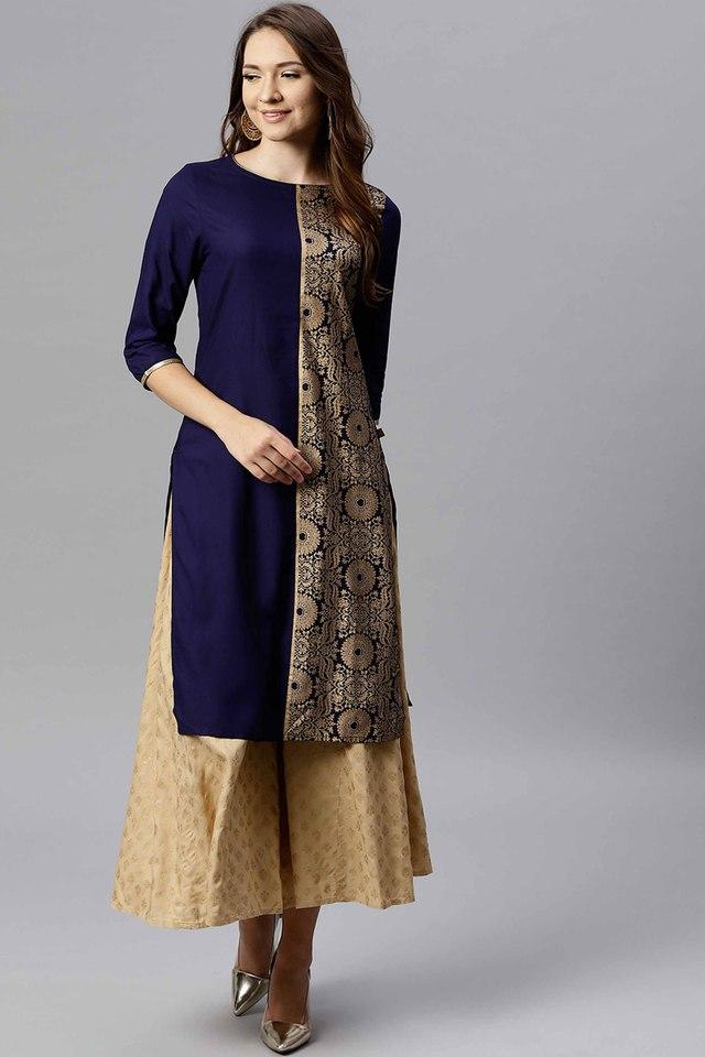 Womens Round Neck Gold Printed Kurta